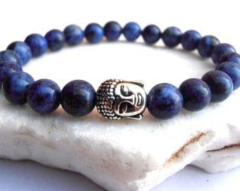 Lapis Lazuli Buddha bracelet, Buddha bracelet, Lapislazuli bracelet, Meditation bracelet, Protection Bracelet, Strechy bracelet