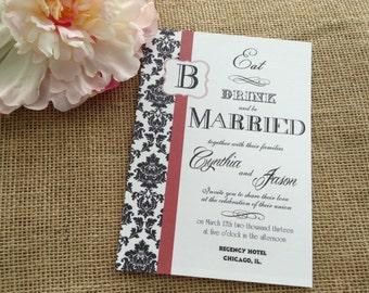 100 Wedding Invitations, invites Black and white Damask Red accent wedding invites
