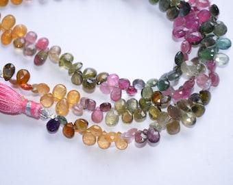 "4"" Strand 4x6-4x7mm-AA-Multi Tourmaline-Watermelon Multi Tourmaline Faceted Pear Shape Briolette Beads-37 Briolettes"