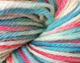 Pink, White & Blue -  Bulky Chunky Wool - Pink White Blue Natural