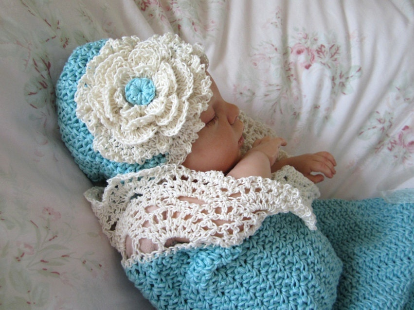 Free Knitting Pattern Baby Cocoon And Hat : Crochet Baby Cocoon and Hat Pattern Photo Prop Pattern Seaside