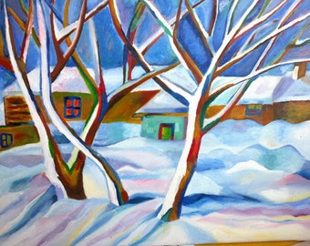 Oil painting paysage winter holiday