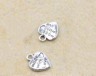 100pcs antique silver Mini Heart Made With Love Charm Pendants  10x12mm