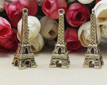 Eiffel Tower Charms -10pcs Antique  gold charm Large Eiffel Tower Charm Pendants 40x12mm