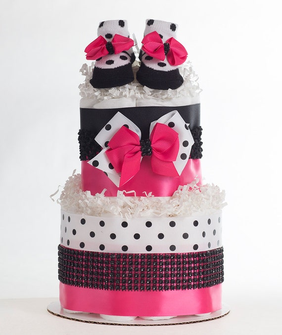 "The ""Chic Pink & Polkadot"" Diaper Cake. Baby Shower Centerpiece or Gift."
