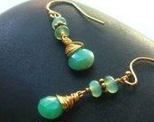 Peruvian Opal Briolettes Earrings / Gold Filled Wire Wrap / Green Opal / Blue Opal / Heart Chakra