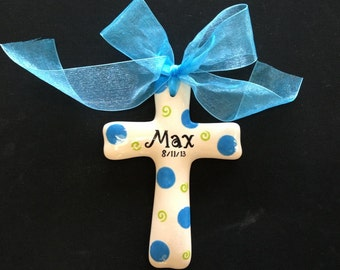 Hand painted Personalized Cross - Baptism, Christening, Easter or Shower Gift