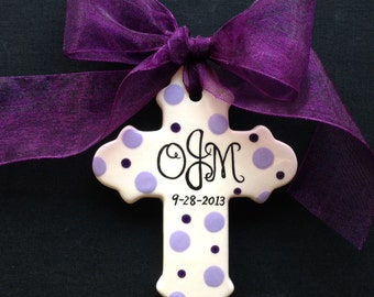 Hand painted Personalized Cross - Baptism, Christening or Baby Shower Gift