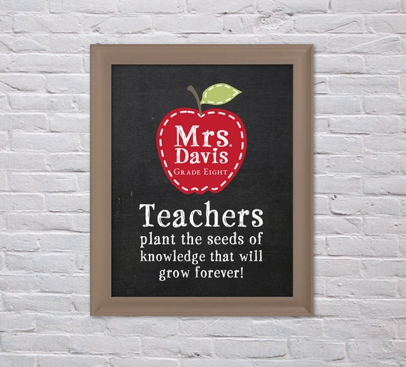 Teacher Classroom Wall Decor ~ Teacher gift wall art teachers plant a seed