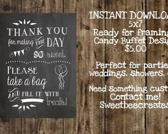 INSTANT DOWNLOAD - Candy Buffet/Bar Chalkboard Sign/Print for Birthdays, Weddings, Parties