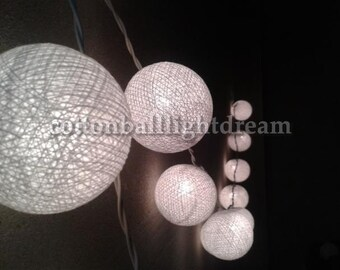 WHITE colors cotton ball String Lights 20 Lanterns