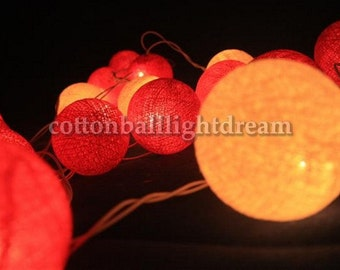 20 Deep pink cotton balls string light holiday party decorate bedroom decorate dinner room newyear party