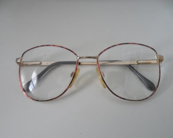 Vintage Men's eye glass frame Luxotica Gold electroplated Italy 52 16