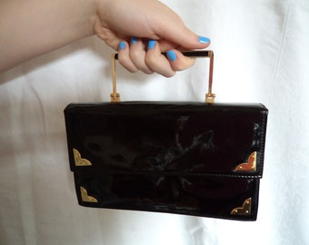 1950s Black Patent Gold Trim Purse/Handbag