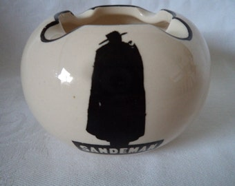 Vintage White/Black Ceramic Sandeman Ashtray