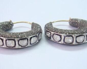 Victorian 7.10ct Rose/Polki Cut Diamond Earrings,Free Shipping Worldwide
