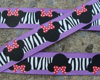 "Hair Bow Supplies Hair Bow supply hair bow ribbon Purple Zebra Minnie Mouse Ribbon 7/8"" 3 yards"