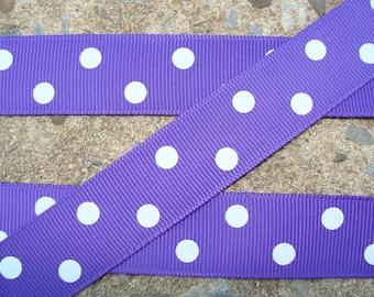"Purple with White Polka Dots Printed Ribbon 7/8"" 3 yards"