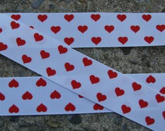 1' Valentine Grosgraine Ribbon Red hearts ribbon Printed Ribbon Hair bow ribbon hair bow supplies 3 yards