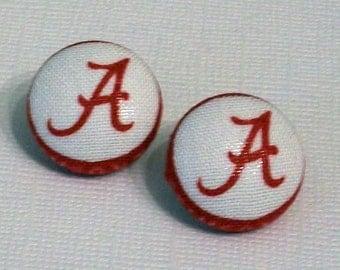 Fun Crimson and White Alabama Inspired A Fabric Button Pierced Earrings