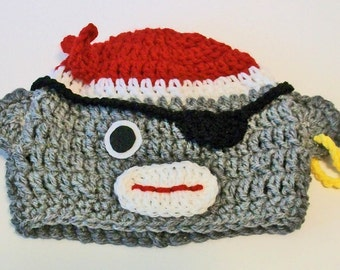 Adorable Gray and Red Sock Monkey Pirate Hand Crocheted Baby and Childrens Hat Great Photo Prop 5 Sizes Available