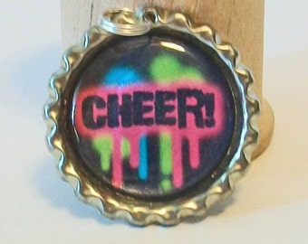 Fun Black and Bright Neon Colors Cheer Flattened Bottlecap Pendant Necklace