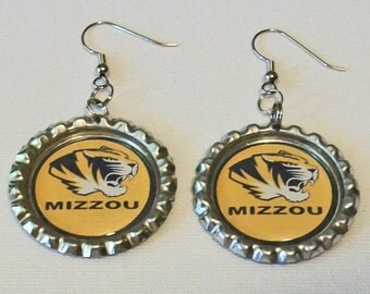 Fun Mizzou Missouri Tigers Inspired Metal Flattened Bottlecap Dangle Earrings