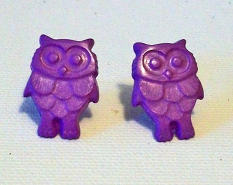 SALE Fun Lavender Purple Owl Shaped Small Pierced Earrings