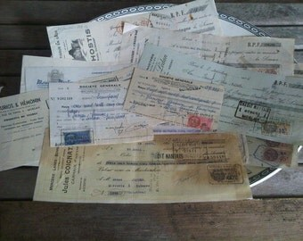 Bundle of 15 Authentic French 80 Year Old Antique Paper Bills