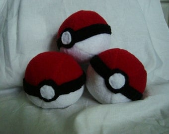 Set of 3 Stuffed Plush Pokeballs