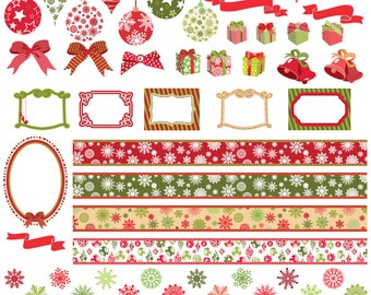 65 Christmas Clip Arts, 65 Christmas Elements, Instant Dowload