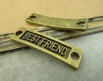 10pcs 10x36mm Ancient  Bronze Rectangle Best Friend Charm Connector - Best Friends Tag Charm Connector