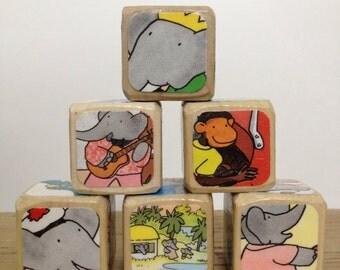 Babar // Childrens Book Blocks // Natural Wood Toy