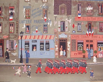 "Michel Delacroix ""Le Defile Du 14 Juillet"" - S/N Lithograph - Retail 2,450 - COA - Buy/Sell/Trade - See Live at GallArt"