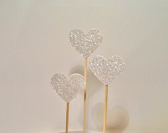 Cake Toppers/Wedding Cake Topper/Cake Pokes. Set of Three. Silver Glitter- Wedding - Engagement - Anniversary.