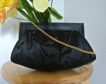 Vintage 1950s Black Clutch Evening Purse Satin and Gold Chain Strap by Coblentz Original