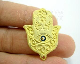 Gold Hamsa Hand of Fatima with Enameled Evil Eye Pendant, Matte 22K Gold Plated Turkish Jewelry