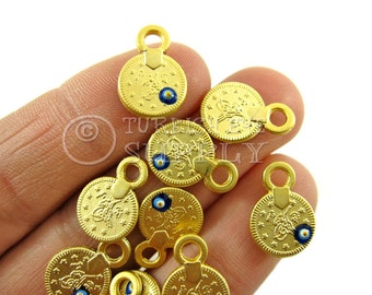 10 pc Gold Coin Charms with Enameled Evil Eye, Matte 22K Gold Plated Mini Ottoman Coin Replica Charms, Turkish Jewelry, Good Luck Charms