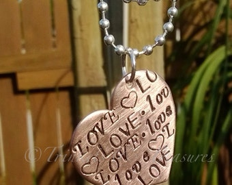 Hand stamped copper heart necklace