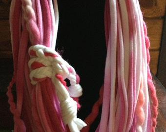 T/shirt necklace, hand dyed shades of Bubblegum pink