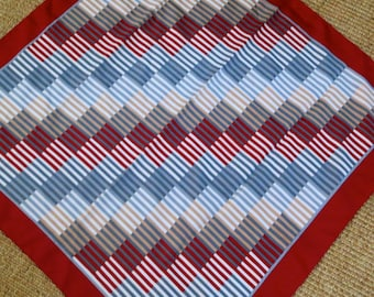 Retro Mod Square Scarf - Geometric Lines and Stripes - Gray Tan Taupe Burgundy Red- Easy Care