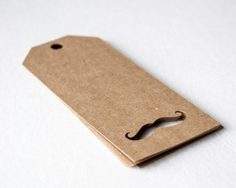 Mustache Cutout Tag- Many colors available