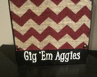 Gig 'Em Aggies Maroon Distressed Texas A&M Chevron Picture Frame