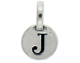1 pcs - Round Silver Initial Charm 9mm Letter J - by TIJC - SPRJ