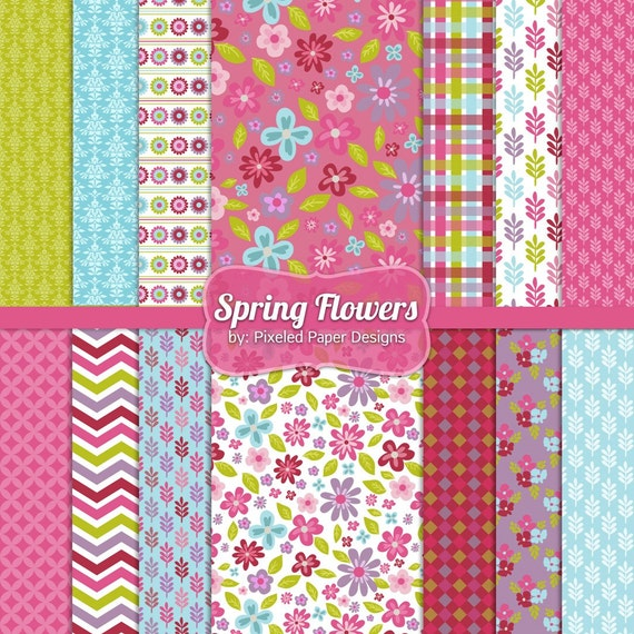 Instant Download - Digital Paper Pack - Printable Paper - Spring Flowers