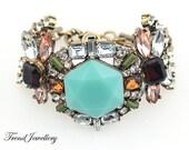 Glass Crystal Bracelet, Beaded Bracelet,Statement Bracelet,Wedding Bracelet,Bridesmaid Bracelet,Chunky Bracelet,Vintage Bracelet (TJ-B0045B)