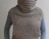 Crochet pattern for the vest cowl shawl scarf two armed in S, M,L,XL sizes