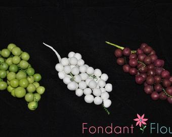 "6"" Gumpaste Grape Bunch - Cake Decoration on Wire - Burgundy, Green or White"