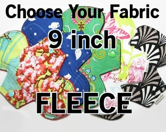 Choose Your Topper Fabric - 9 inch- Custom Cloth Menstrual Pad - Choose Absorbency - Fleece Back