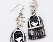 Handmade Boho Chic Dangle Earrings - Silver Tone Metal Birds,Metal Branches,Wooden Cages & Pink Glass Beads-Bohemian Spring,Summer Design